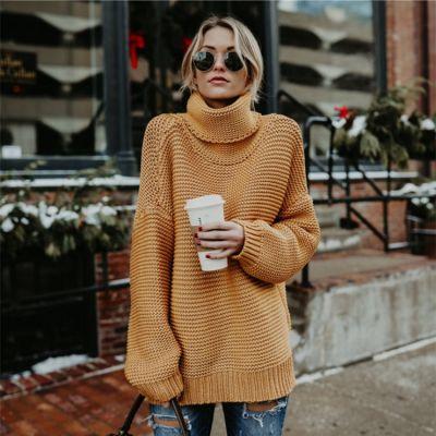 Oversize knitwear turtleneck jumper for women