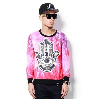 Cosmic Karma Palm Crewneck Sweater for Men - Pink