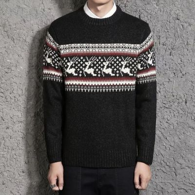 Winter knit sweater with deer and polka dots for men