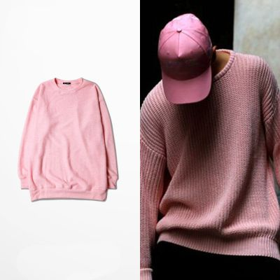 Pink Knitwear Crewneck Sweater for Men