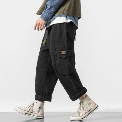 Relaxed wide leg cargo pants for men with elasticated waist