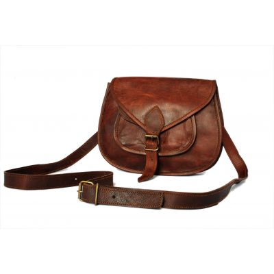 Retro Fashion Genuine Leather Bag Vintage with Shoulder Strap - 9 inches