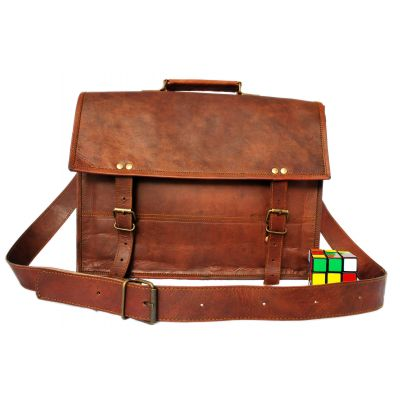 Retro Leather School Bag Satchel with Shoulder strap - Large