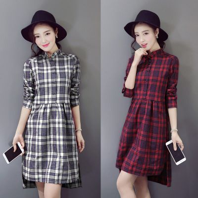 Women's plaid dress with long sleeves and shirt collar
