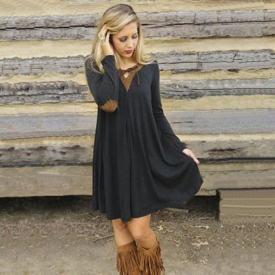 Lace up front collar dress with velvet elbow patches