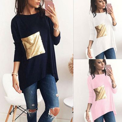 Oversize t-shirt dress for women with gold sequins front pocket