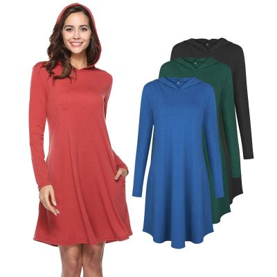 Long sleeve dress with hood plain colored