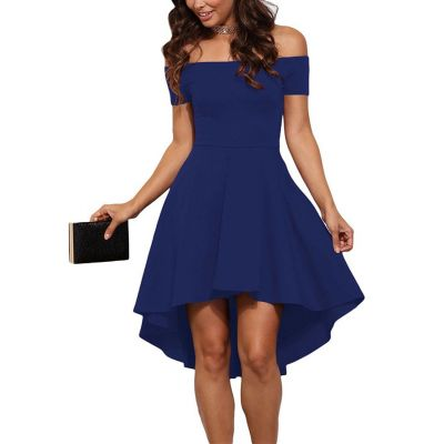 Off the shoulder evening dress for women with long back