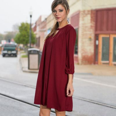 Loose fit Summer dress for women with collar strap