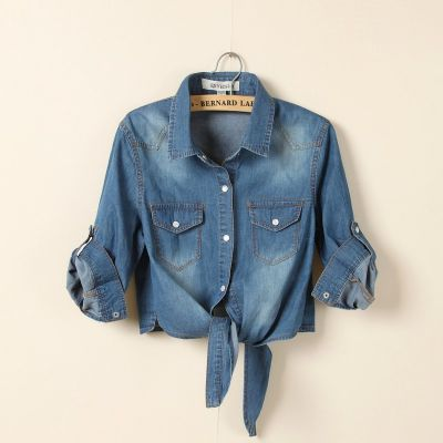 Rolled Sleeve Knot Front Denim Shirt for Women