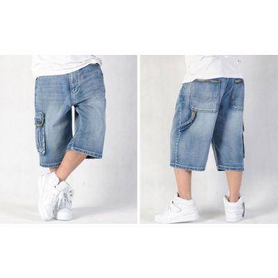 Baggy Denim Shorts for Men with Side Pocket