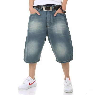 Baggy Jeans Shorts for Men with Embroidery on Back Pocket