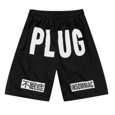 Large PLUG Design Cotton Shorts Streetwear Insomniac Print on Knee
