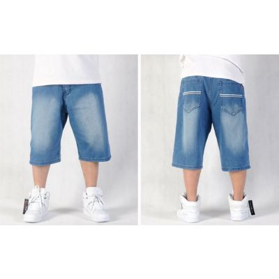 Classic Baggy Jeans Shorts for Men with White Stripe Back Pocket