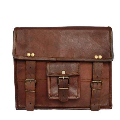Vintage Genuine Leather Messenger Satchel bag with Front pocket - Small