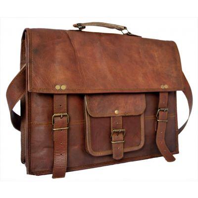 Vintage Genuine Leather Messenger Satchel bag with Front pocket - Large