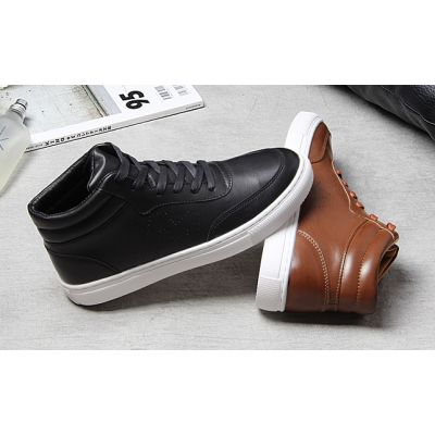 Retro Polished Leather Sneaker Boots for Men