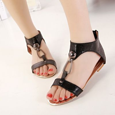Summer Sandals for Women Casual Spartan Strap Shoes - Silver Black