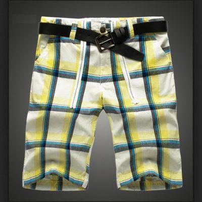 Plaid Checkered Shorts for Men Summer Bermuda - Yellow White