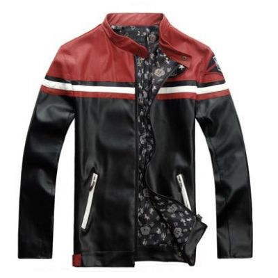 Motorcycle style leather jacket sports style Red Shoulder Design
