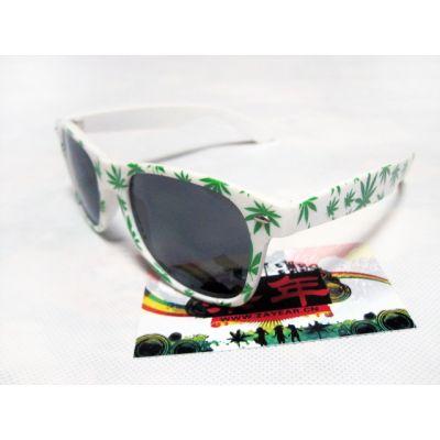 Marijuana Print Sunglasses Weed Leaf Ganja Sunnies Black White