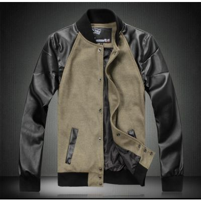 Men's Bomber Jacket Baseball Vest with PU Leather Sleeves
