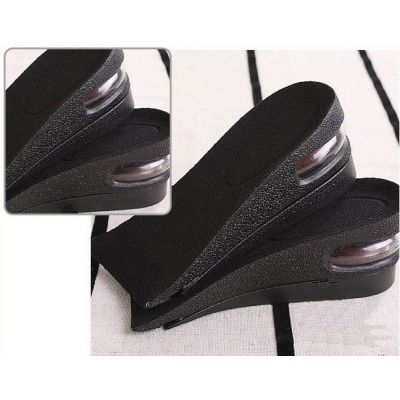 Short shoe insoles with air bubble for height gain