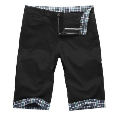 Black Shorts Summer Bermuda for Men with Checkered Cuff