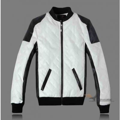 Sports Leather jacket for men White with Black Sleeves