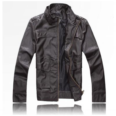 Classic leather jacket for men with collar buckle