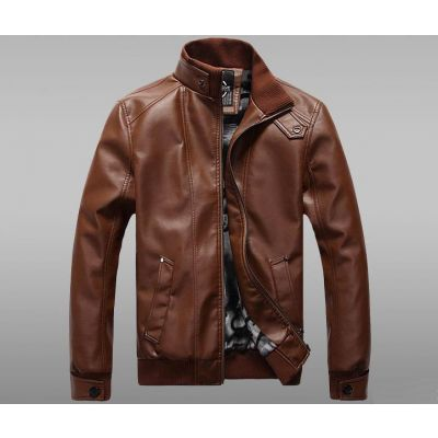 Leather Aviator Jacket with cotton Collar and sleeve Vintage Fashion