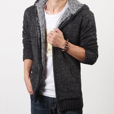 Wool Zip Up Hoodie for Men with Inside Fur - Plain Model