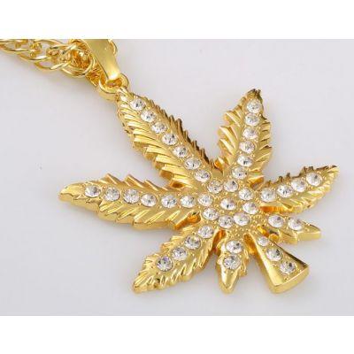 Ganja Marijuana Pendant Gold Diamond Bling Bling