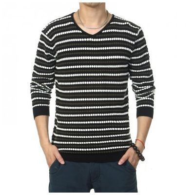 V Neck Sweater for men with striped horizontal pattern Wool Knit