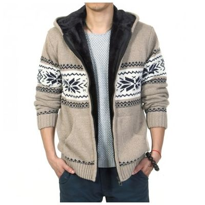 Zip Up Hoodie for Men with Inside Fur and Winter Stripe Print