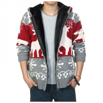 Zip Up Hoodie for Men with Big Winter Reindeer Print and Inside Fur