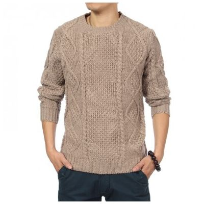 Retro Fashion Pullover Sweater with Thick Wool Knit