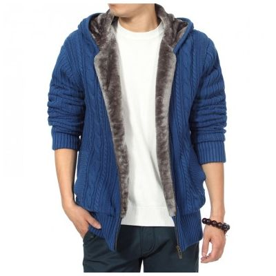 Zip Up Hoodie for Men Thick Wool with Fur Inside Twisted Wool knit