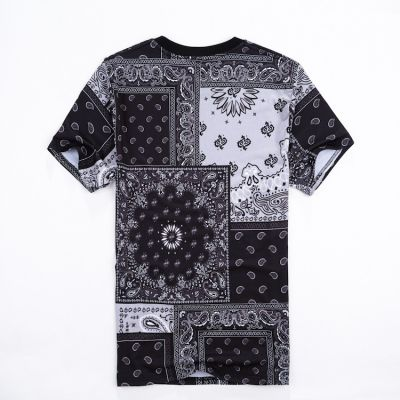 Paisley Bandana Print T Shirt Bloods Crips Black White Red