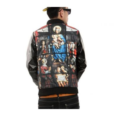 Bomber Jacket with Leather Sleeves and Virgin Mary Print Bimaterial