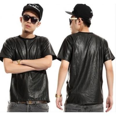 Snakeskin Leather T shirt for Men with Side Zips