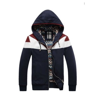 Zip up Hoodie for men with PU Leather shoulder contrast Sport fashion