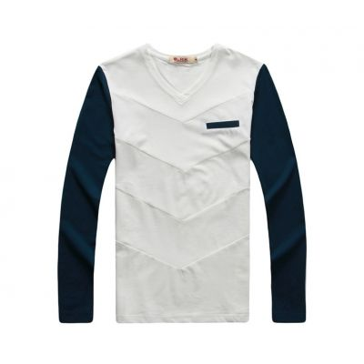 Long sleeve t shirt for men with colored sleeves and pocket lining