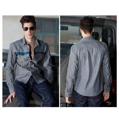 Denim shirt for men long sleeves with chest stripe design fashion