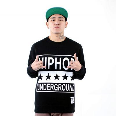 Crewneck Sweater with Hip Hop Underground Stars Print