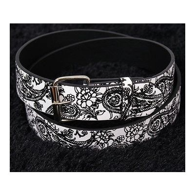 Leather belt with Paisley Bandana Design Swag
