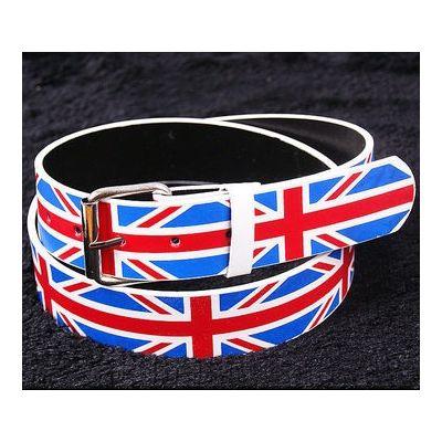 Leather belt with UK England Flag Union Jack Punk Style