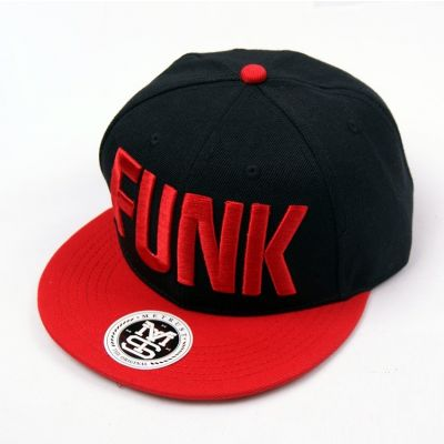Funk Big Letters Black Baseball Snapback Cap with Red Visor