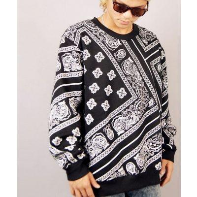 Paisley print Crewneck Sweater Diagonal Bandana Pattern