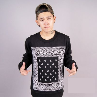 Bandana Print Crewneck Sweater with Square Paisley Pattern